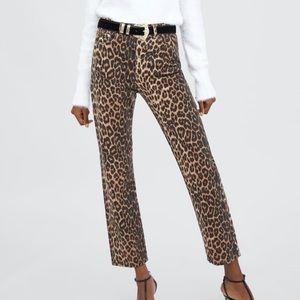NWT Zara high rise leopard print jeans